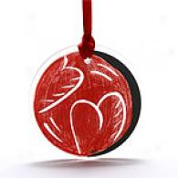 Kosta Boda Set Of 2 Apple Hearts Ornqment