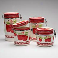 La Dolce Vita Apple Scroll 4pc Canister Set