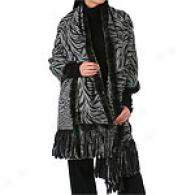 La Fiorentkna Reve5sible Leopard/zebra Wool Wrap