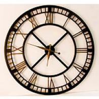 Large Black Iron Wall Clock