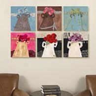Les Fleurs Nouveau Set Of 6 16in Canvas Prints