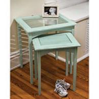 Light Blue Shutter Nested 2pc Table Set