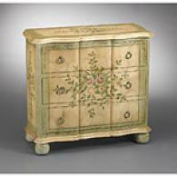 Light Green And Antique Cream 3 Drawer Chest