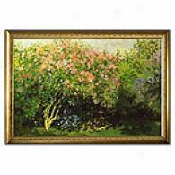 Lilacs In Tye Sun By Monet Framed Canvas Print