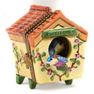 Limoges Hand Painted Bird House With Bird Box
