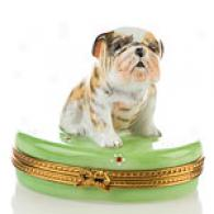 Limoges Hwd Painted Bulldog Box
