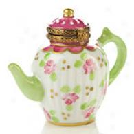 Limoges Hand Painted Flower Teapot Box