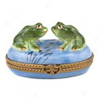 Limoges Hand Painted Frogs Box