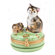 Limoges Hand Painted Mother With Kitten Bx