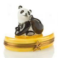 Limoges Hand Painted Panda Bear Box
