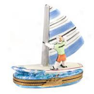 Limogs Hand Painted Porcelain Surfer Box