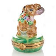 Limoges Hand Painted Rabbit With Basket Box