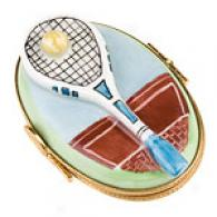 Limoges Hand Painted Tennis Racquet Box