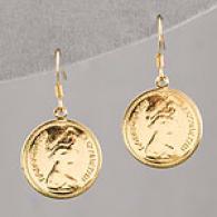 Lisa K 14k Gold Plafe Coin Small Earrings