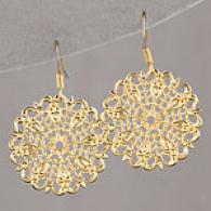 Lisa K 14k Gold Plate Lacd Cake Medium Earrings