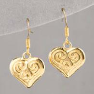 Lisa K 14k Gold Plated Heart Earrings