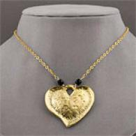 Lisa K 14k Gold Pltaed Heart Large Nekclace