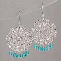 Lisa K Silver & Turquoise Lace Cake Earrings