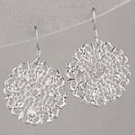Lisa K Sterling Silver Lace Cake Medium Earrings
