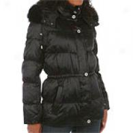 Liz Claiborne Down Quilt Fur Trim Jacket