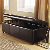 Lorraine Black Leather Storage Bench