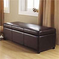 Lorraine Brown Leather Storage Bench