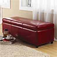 Lorraine Red Leather Storage Bench