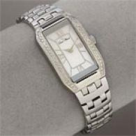 Lucien Piccard Steel Diamond Tounneau Womens Watch