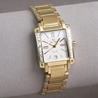 Lucien Piccard Womens Gold-tone Diamond Watch