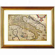 Map Of Italy Framed Print By Ortelius, C.1600