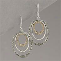 Marcasite & Champagne Crystal Hoop Earrings