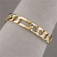 Mens 14k Gold Solid Figaro 8.25in Bracelet