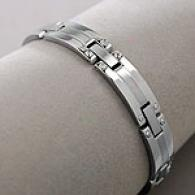 Mens 8-1/2 In Stainless Steel Bolt Design Bracelet