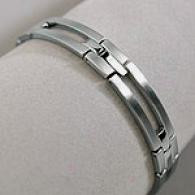 Mens 8.5 In Brushed Stainless Steel Slotted Brace