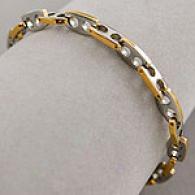 Mens 8.5 In Steel & 18k Gold Marine Link Bracelet