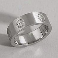 Men's Bolt Design Brushed Stainless Steel Ring