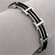 Mens Modern Stainless Steel & Rubber Link Bracelet