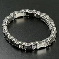 Mens Stainless Steel Greek Key Bike Chain Bracelet