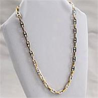 Mens Steel & 18k Gold Marine Link Necklace
