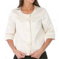 Michael Kors 3/4 Sleeve Cream Jacquard Jacket