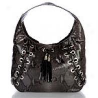 Michael Kors Grey & Black Leather Shoulder Bag