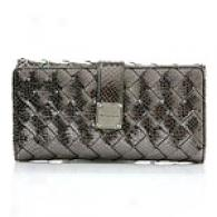 Michael Kors Newbury Pewter Leather Clutch