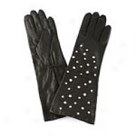 Michael Kors Scattered Rhinestone Leather Gloves
