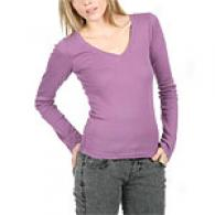 Michael Stars Plum Supima Long Sleeve V-neck Top