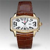 Michele Womens Coquette Retro Diamond Gold Watch