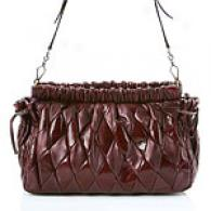 Miu Mlu Brugundy Harlequin Shoulder Bag