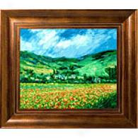 Monet Poppy Field Near Giverny Framed Oil Painting