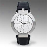 Movado Elliptica Round Leather Strap Watch