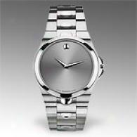Movado Luno Mens Silver Watch