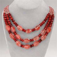 Multi Strand Befry Jade & Rose Quartz Necklace